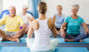 Image of woman leading a group of seniors in exercise
